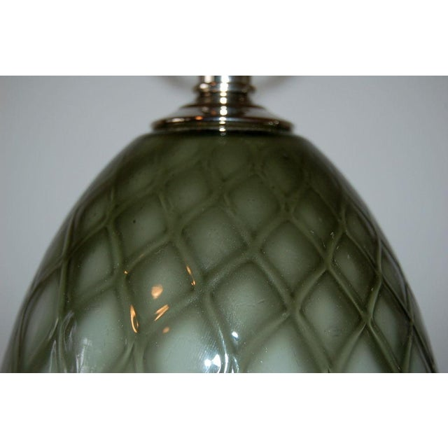 1950s Vintage Murano Glass Table Lamps Gray For Sale - Image 5 of 9