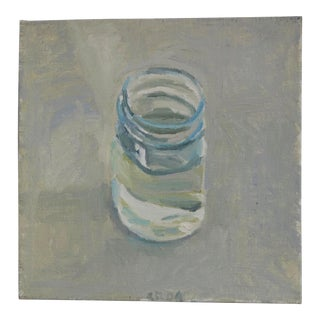 Still Life Oil Painting of a Glass of Water For Sale