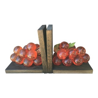 Mid-Century Modern Pink Lucite Grape Bookends - a Pair