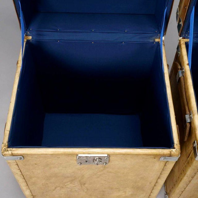 Pair of Reconditioned English Vellum and Chrome Trunks - Image 5 of 9