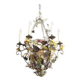 Iron Wire and Beaded Chandelier For Sale