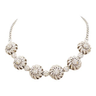 Pennino Rhodium Plated Rhinestone Flower Necklace For Sale