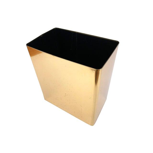 1960s Vintage Mid-Century Modern Brass / Gold Rectangular Waste Basket Trash Can For Sale