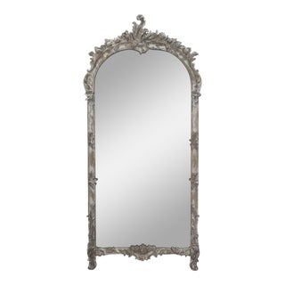 Antique Italian Bleached Carved Mirror