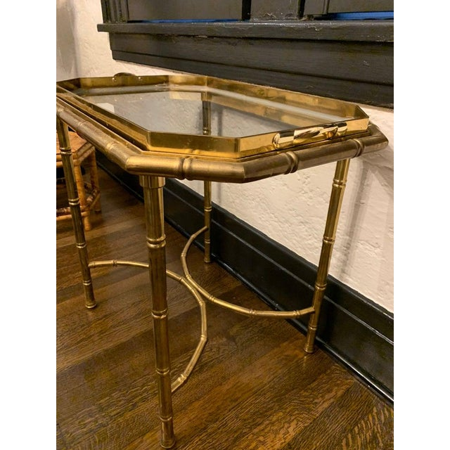 Mid 20th Century Vintage Hollywood Regency Brass Bamboo Tray Table For Sale - Image 5 of 11
