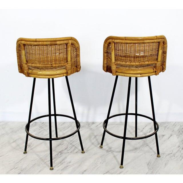 Danny Ho Fong Mid Century Modern Danny Ho Fong Set 4 Bamboo Rattan Iron Swivel Barstools 1960s For Sale - Image 4 of 8