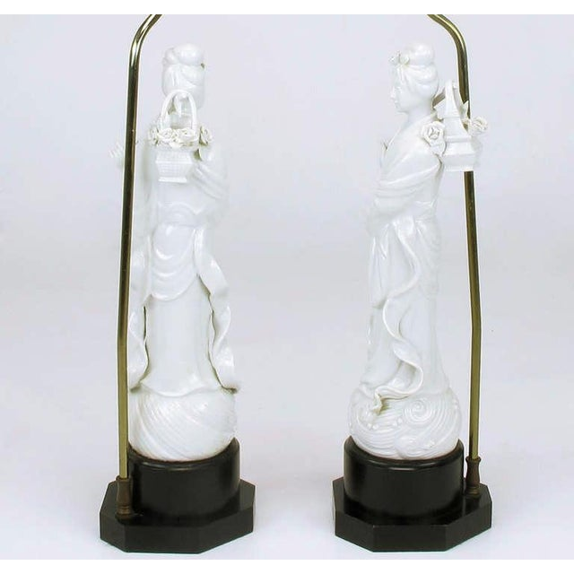 1960s Pair Blanc De Chine Female Figure Table Lamps For Sale - Image 5 of 9