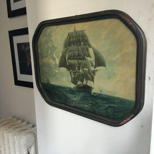 Blue Antique Framed Ship Print For Sale - Image 8 of 11