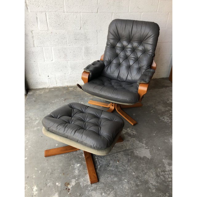 Vintage Mid Century Modern Scandinavian Lounge Chair & Ottoman For Sale - Image 13 of 13