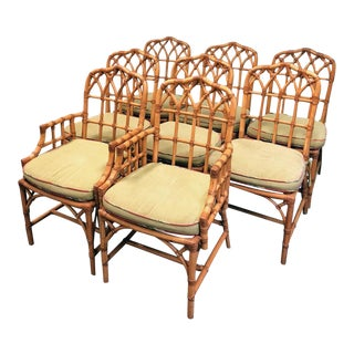 20th Century Boho Chic McGuire Dining Chairs - Set of 8 For Sale