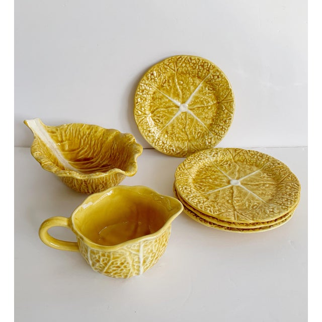 Vintage Majolica Secla Portugal Yellow Mustard Cabbage Dishes - Set of 6 For Sale - Image 13 of 13