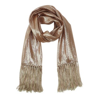 1970's Tri Color Gold Lamé Opera Scarf With Fringe For Sale