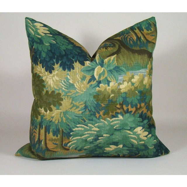 Green Verdure Print Linen Pillow Cover For Sale - Image 8 of 8