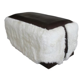 Costantini Ovino Contemporary Leather and Sheepskin Bench, Customizable For Sale