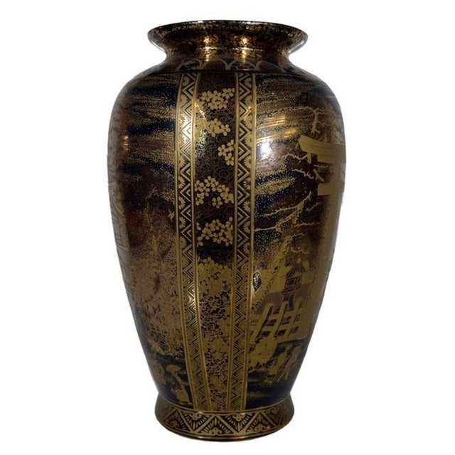 Asian Vintage Hand-Painted Black Gilt Porcelain Vase from 1980s, China For Sale - Image 3 of 10