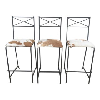 21st Century Iron and Cowhide Upholstered Barstools- Set of 3 For Sale