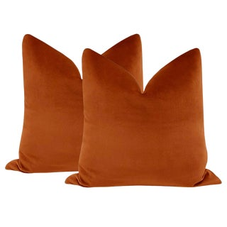 "22"" Amber Designer Velvet Pillows - a Pair For Sale"
