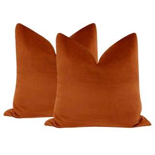 """22"""" Amber Designer Velvet Pillows - a Pair"""