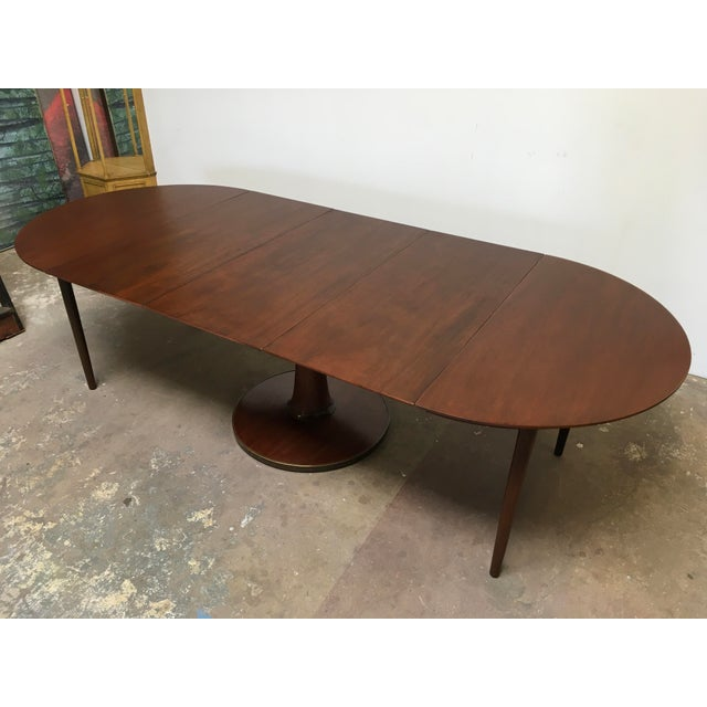 T.H. Robsjohn-Gibbings Expandable Round Mahogany Dining Table For Sale - Image 10 of 13