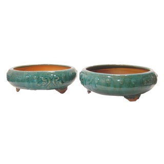 Shallow Green Glazed Terracotta Planters - a Pair