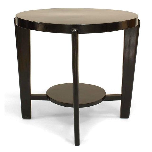 Italian Italian 1940s Ebonized Round Coffee Table For Sale - Image 3 of 3