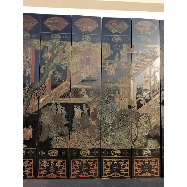 20th Century Asian Chinese Chinoiserie Black Coromandel 12 Panel Screen Oriental Asian For Sale In Los Angeles - Image 6 of 12