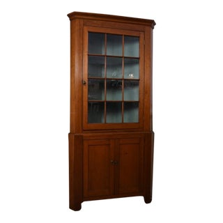 19th Century Traditional Cherrywood Corner Cupboard For Sale