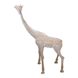 1990's Carved Whitewashed Wood Giraffe