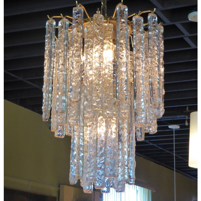 Mazzega Murano 1960s Mid-Century Modern Mazzega Murano Textured Crystal Chandelier For Sale - Image 4 of 12