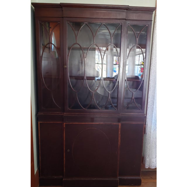 20th Century Gothic Mahogany China Cabinet For Sale - Image 10 of 12