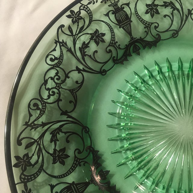 Green Pressed Glass Plate with Sterling Silver Overlay For Sale - Image 4 of 7