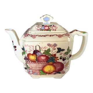 Vintage Mason's Red Multicolor Fruit Basket Ironstone Teapot For Sale