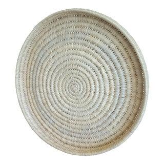 Large Vintage Coiled Woven Sisal Circular Tray