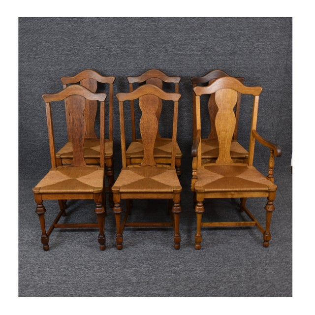 Vintage Tiger Oak Fiddle Back Chairs- Set of 6 For Sale - Image 11 of 11