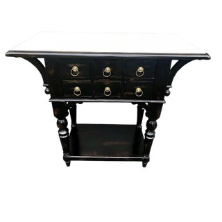 Chinoiserie Distressed Black Sideboard For Sale