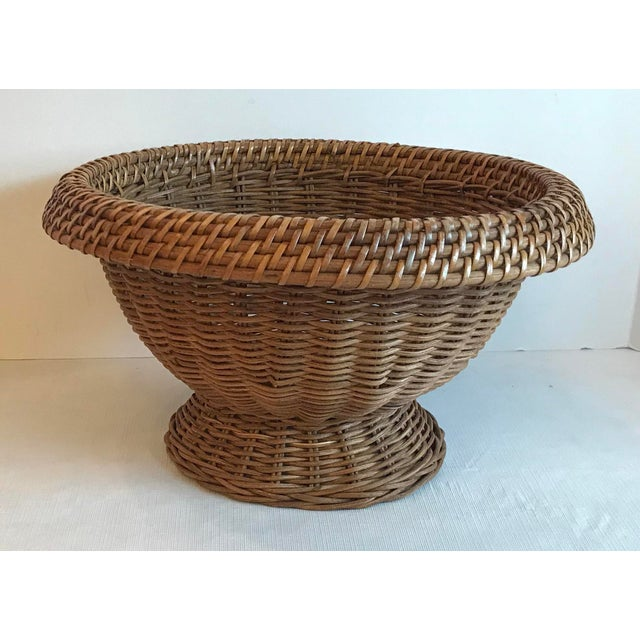 Mid 20th Century Vintage Mid Century Natural Wicker Planter For Sale - Image 5 of 8