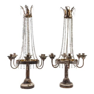 Pair of Italian Neoclassical Tole, Giltwood and Crystal Six-light Candelabra For Sale