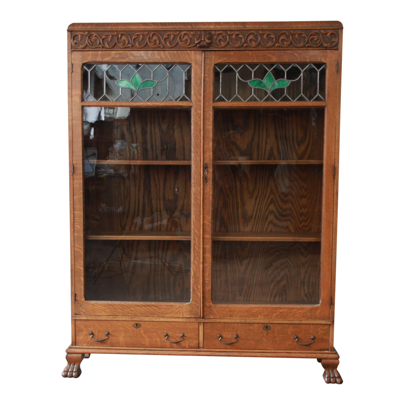 Antique Carved Oak Bookcase With Leaded Stained Glass Doors, Circa
