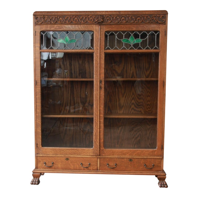 Antique Bookshelves: Antique Carved Oak Bookcase With Leaded Stained Glass