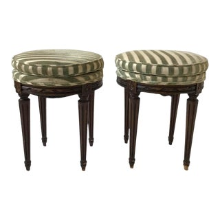 Pair Of 1960s French Style Carved Footstools For Sale
