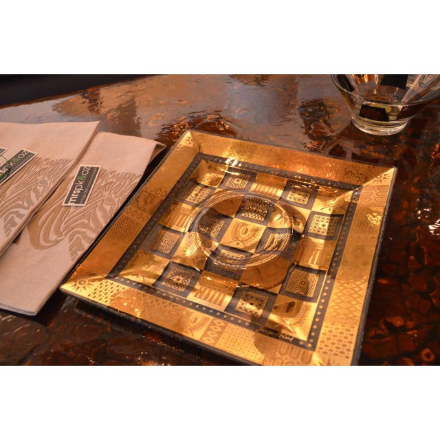 Mid Century Modern Georges Briard Golden Celeste Pattern Fused Glass Serving Tray - Image 5 of 12