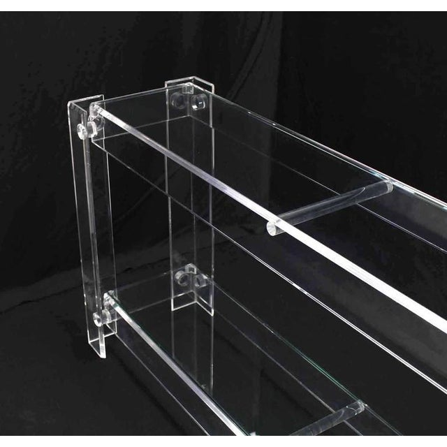 Three-Tier Long Lucite Console Table For Sale - Image 4 of 10