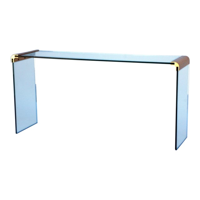1970s Pace Collection Glass and Gilt Bronze Console Sofa Table For Sale