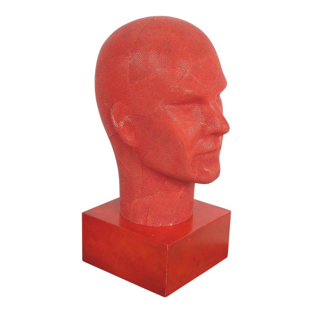 Serge De Troyer Shagreen Head Sculpture For Sale