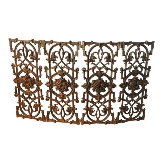 Antique French Rococo Style Iron Folding Fireplace Screen For Sale