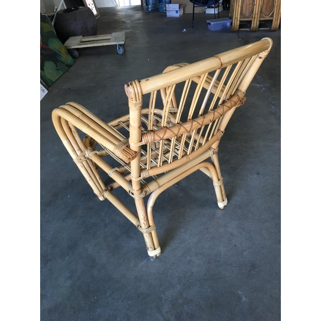 1950s 3-Strand Bentwood Rattan Armchair With Stick Rattan Back For Sale - Image 5 of 10