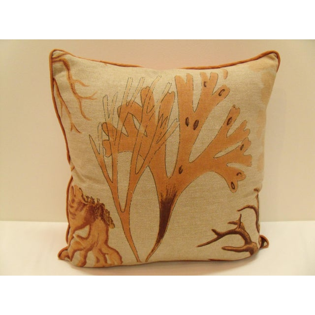 A pair of delightfully fun coral pillows. The fronts are made of 100% linen, while the back and trim is made of a...