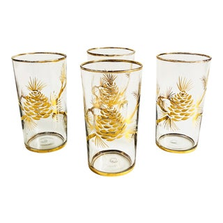Vintage Gold Pine Cone Tumblers - Set of 4 For Sale