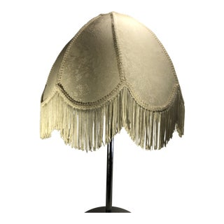 Antique White Ivory Cream Ornate Fabric Victorian Lamp Shade with Fringe For Sale