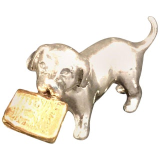 Miniature Silver Dog With Vermeil Newspaper by Sorini For Sale